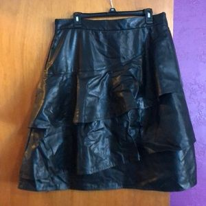 Eloquii faux leather ruffle skirt